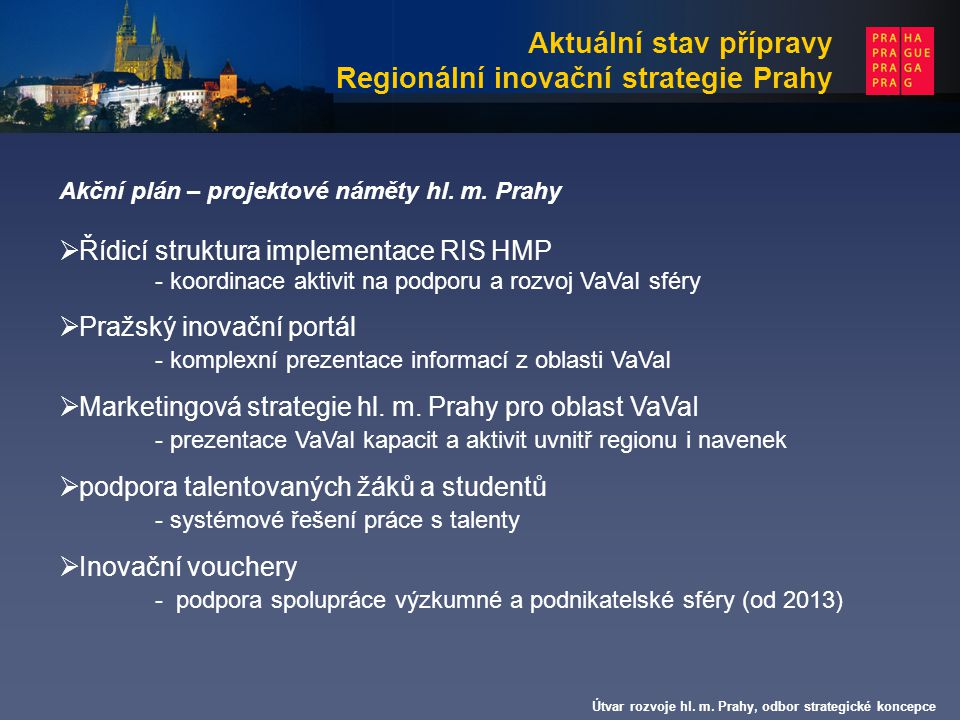 Aktuální stav přípravy Regionální inovační strategie Prahy
