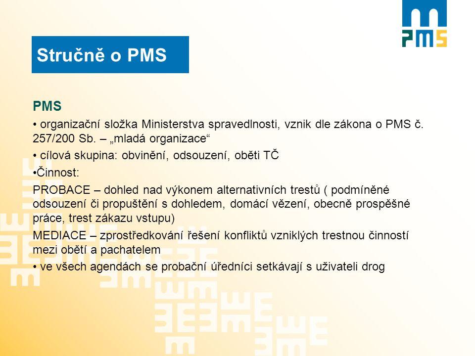 """Stručně o PMS PMS. organizační složka Ministerstva spravedlnosti, vznik dle zákona o PMS č. 257/200 Sb. – """"mladá organizace"""