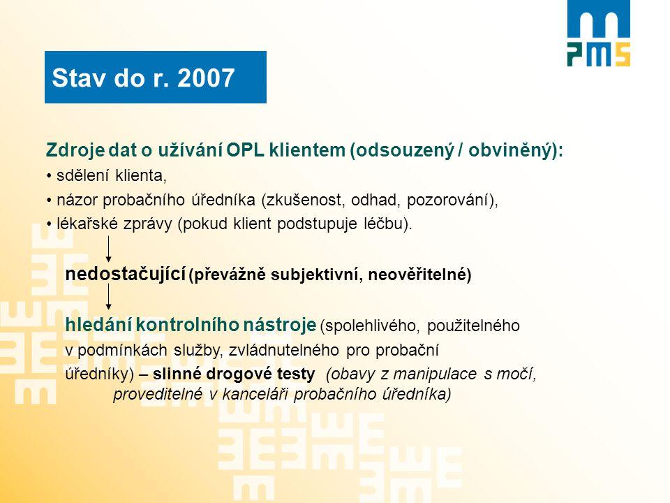 Stav do r. 2007 Zdroje dat o užívání OPL klientem (odsouzený / obviněný): sdělení klienta,