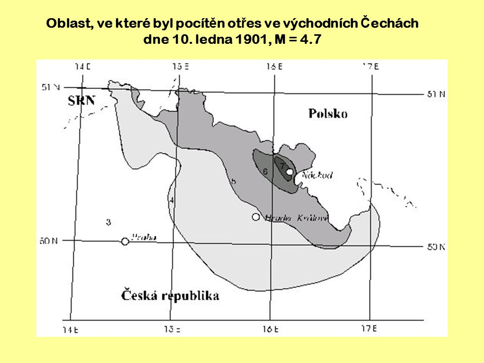 Oblast, ve které byl pocítěn otřes ve východních Čechách dne 10