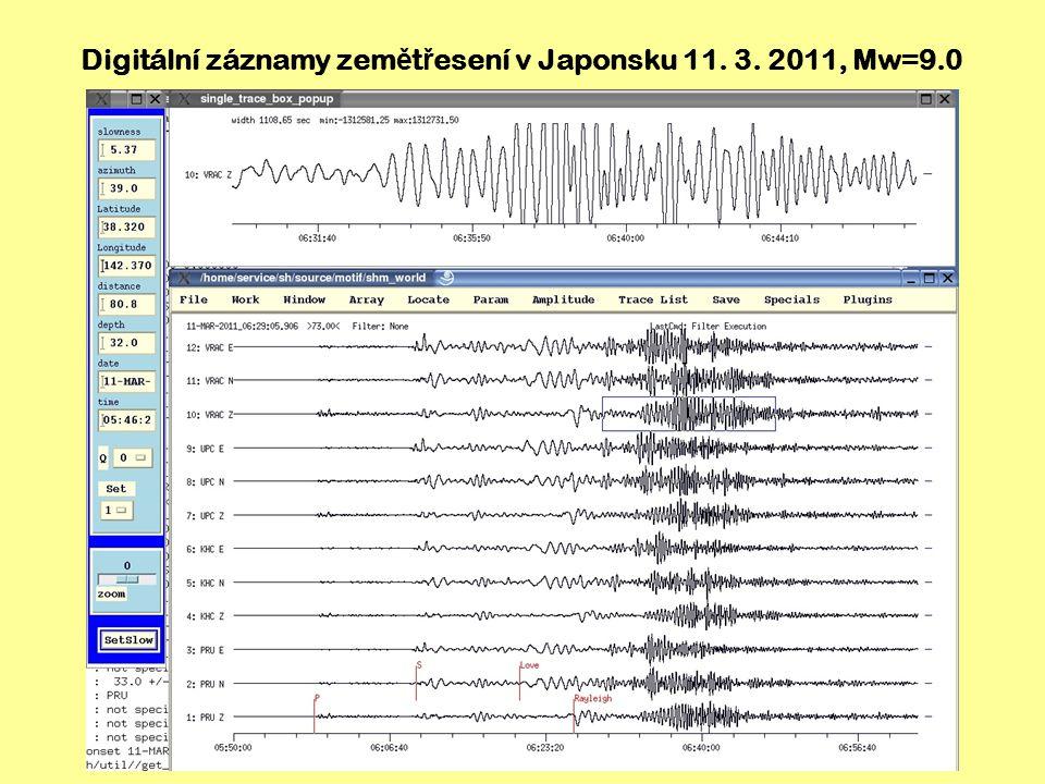 Digitální záznamy zemětřesení v Japonsku 11. 3. 2011, Mw=9.0
