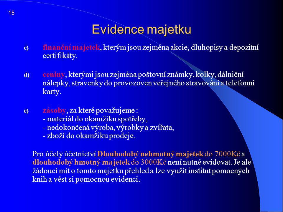 15 Evidence majetku. finanční majetek, kterým jsou zejména akcie, dluhopisy a depozitní certifikáty.