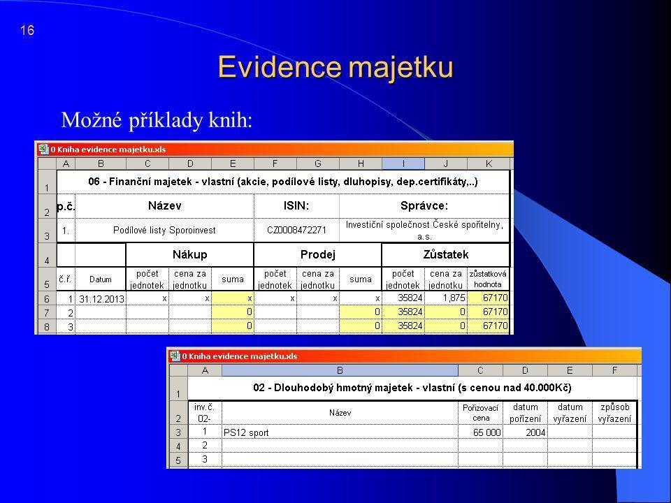16 Evidence majetku Možné příklady knih: