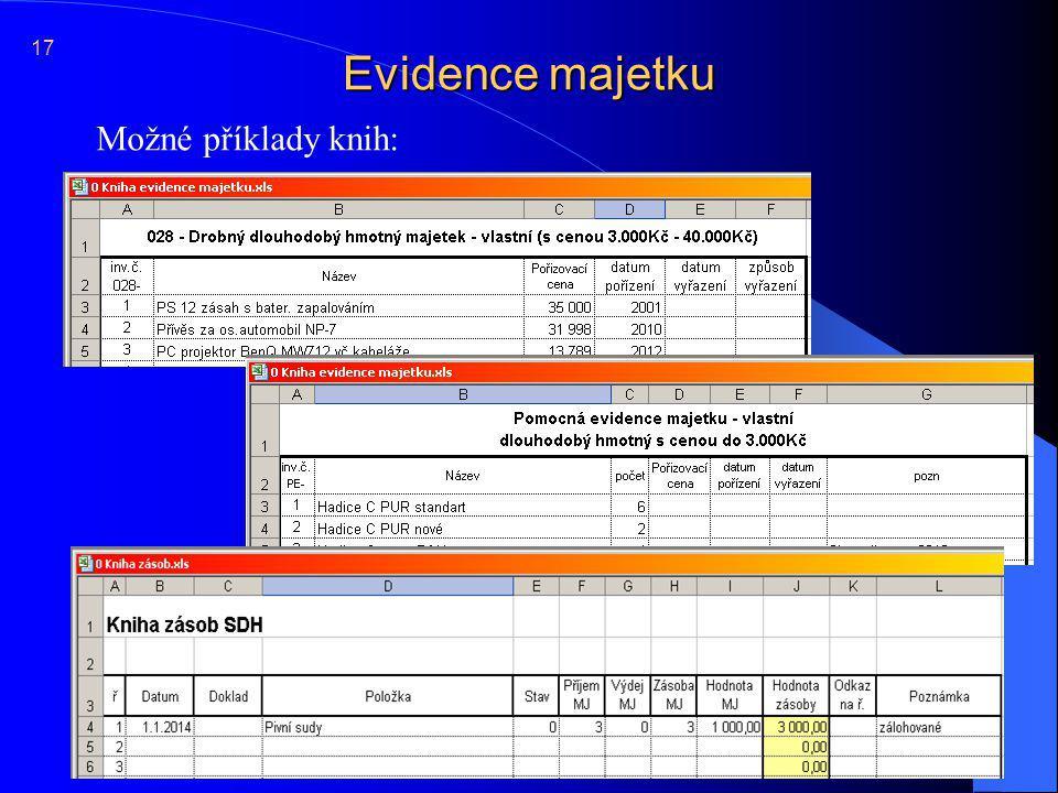 17 Evidence majetku Možné příklady knih: