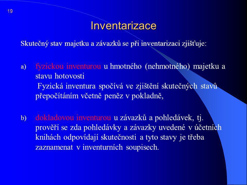 19 Inventarizace. Skutečný stav majetku a závazků se při inventarizaci zjišťuje: