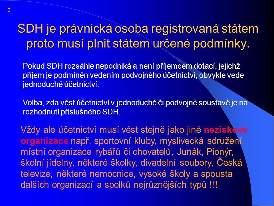 2 SDH je právnická osoba registrovaná státem proto musí plnit státem určené podmínky.