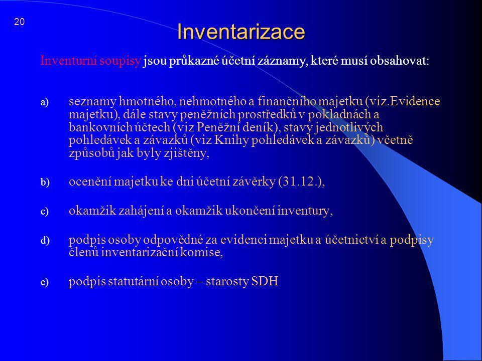 20 Inventarizace. Inventurní soupisy jsou průkazné účetní záznamy, které musí obsahovat: