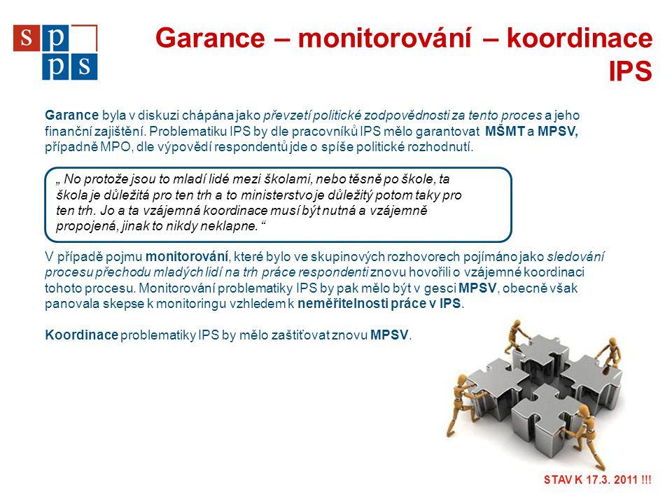 Garance – monitorování – koordinace IPS