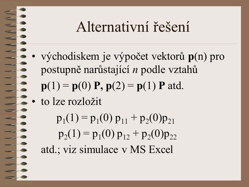 Alternativní řešení východiskem je výpočet vektorů p(n) pro postupně narůstající n podle vztahů. p(1) = p(0) P, p(2) = p(1) P atd.