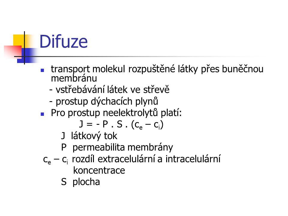 Difuze transport molekul rozpuštěné látky přes buněčnou membránu