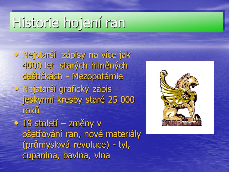 Historie hojení ran Nejstarší zápisy na více jak 4000 let starých hliněných deštičkách - Mezopotámie.