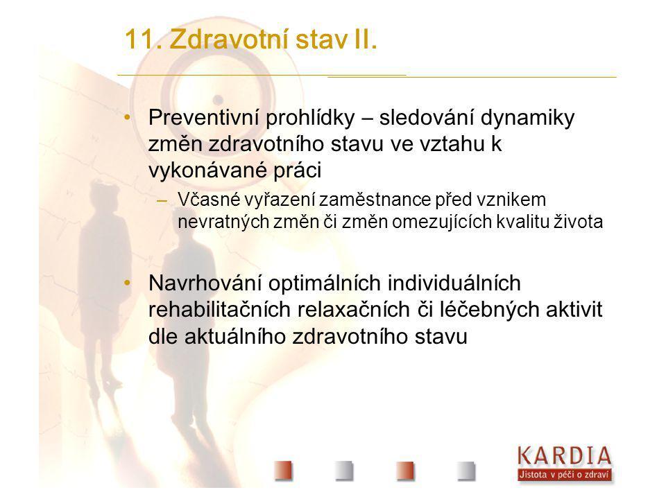 11. Zdravotní stav II. Preventivní prohlídky – sledování dynamiky změn zdravotního stavu ve vztahu k vykonávané práci.