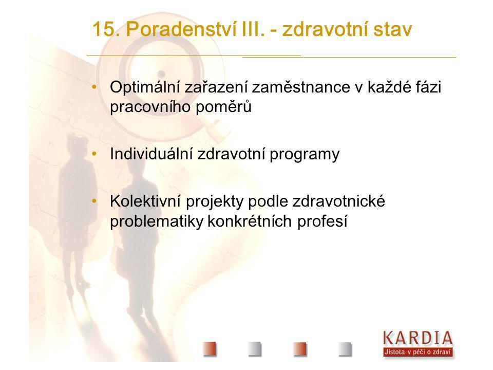 15. Poradenství III. - zdravotní stav
