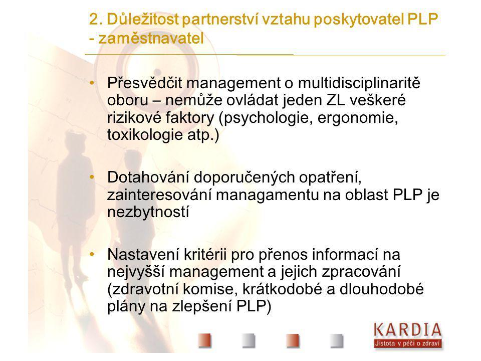 2. Důležitost partnerství vztahu poskytovatel PLP - zaměstnavatel
