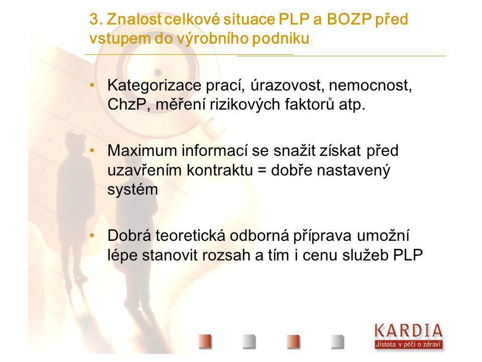 3. Znalost celkové situace PLP a BOZP před vstupem do výrobního podniku