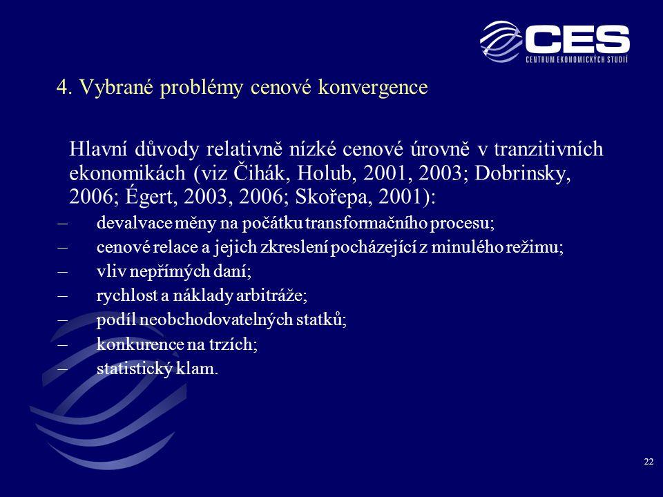 4. Vybrané problémy cenové konvergence