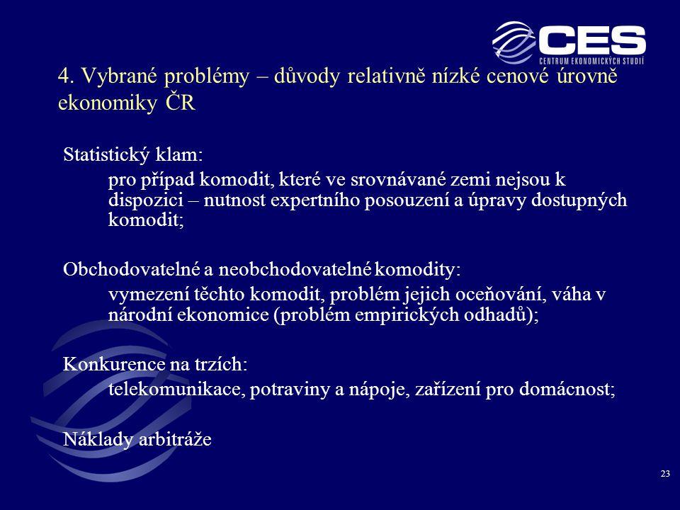 4. Vybrané problémy – důvody relativně nízké cenové úrovně ekonomiky ČR