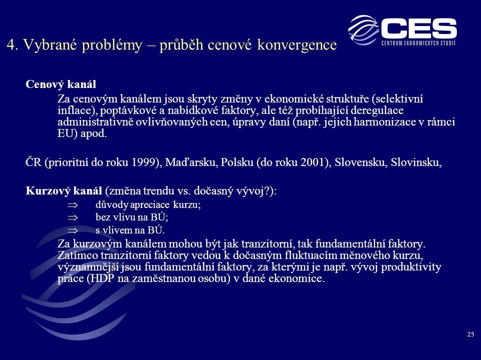 4. Vybrané problémy – průběh cenové konvergence