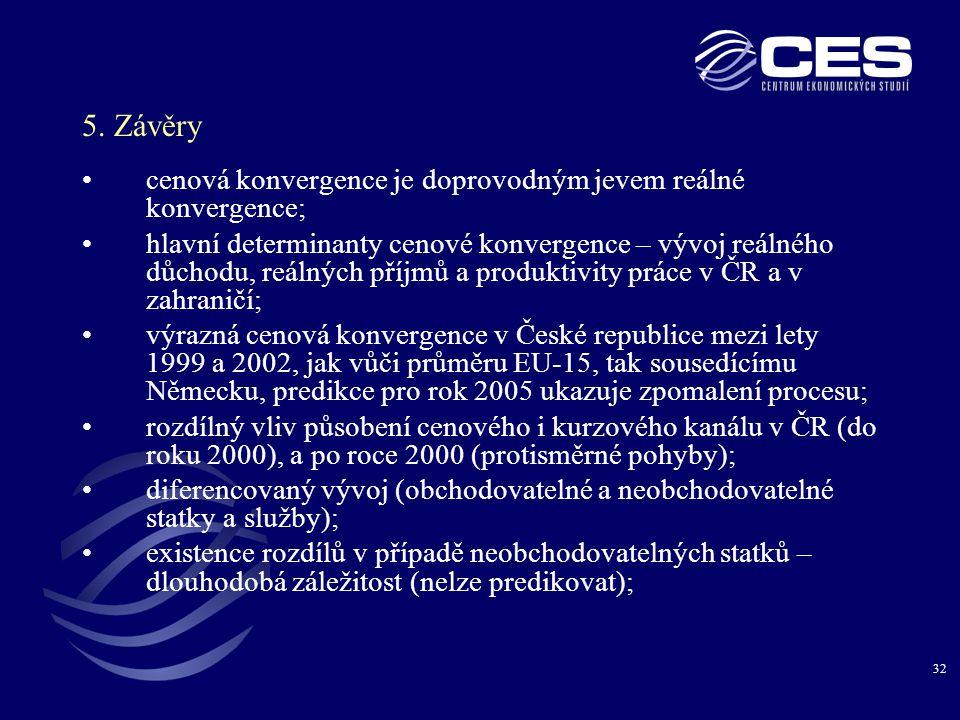 5. Závěry cenová konvergence je doprovodným jevem reálné konvergence;