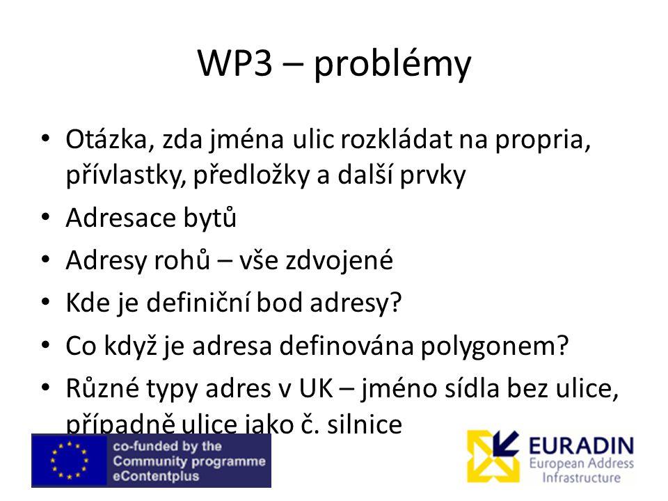 WP3 – problémy Otázka, zda jména ulic rozkládat na propria, přívlastky, předložky a další prvky. Adresace bytů.