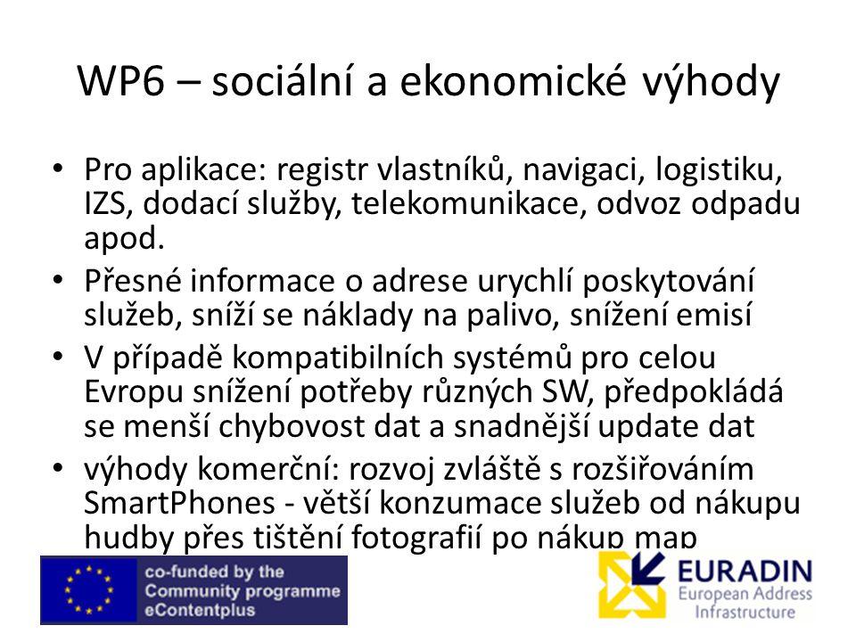 WP6 – sociální a ekonomické výhody