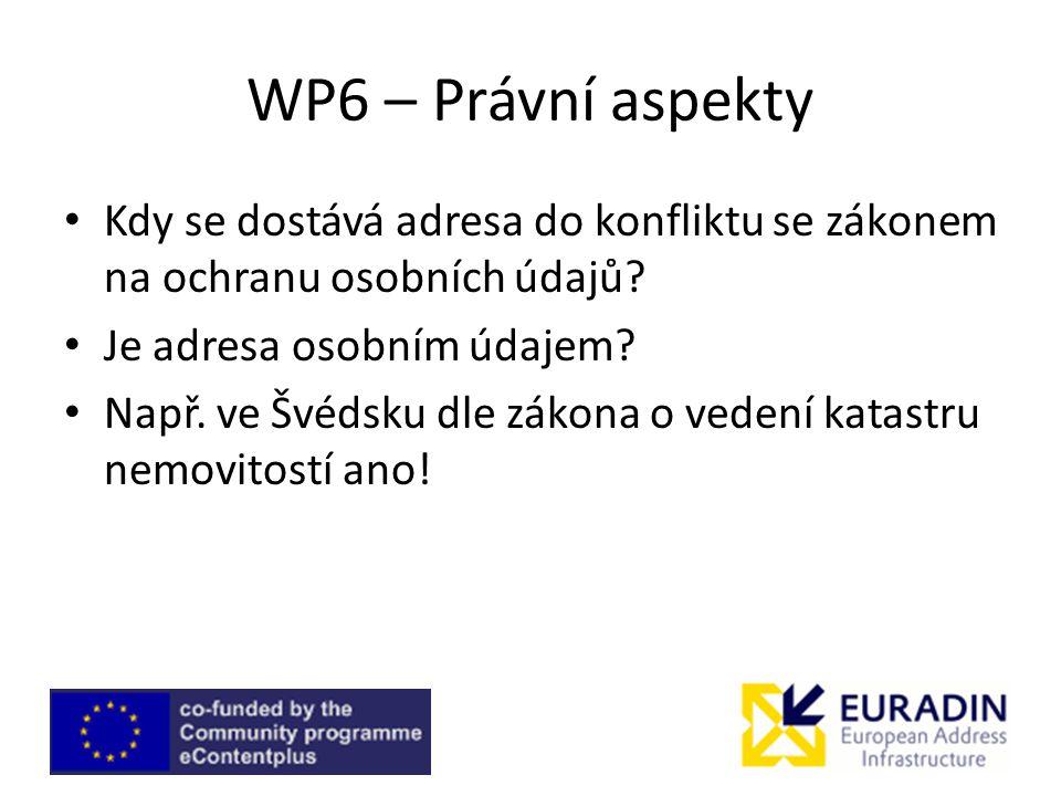 WP6 – Právní aspekty Kdy se dostává adresa do konfliktu se zákonem na ochranu osobních údajů Je adresa osobním údajem