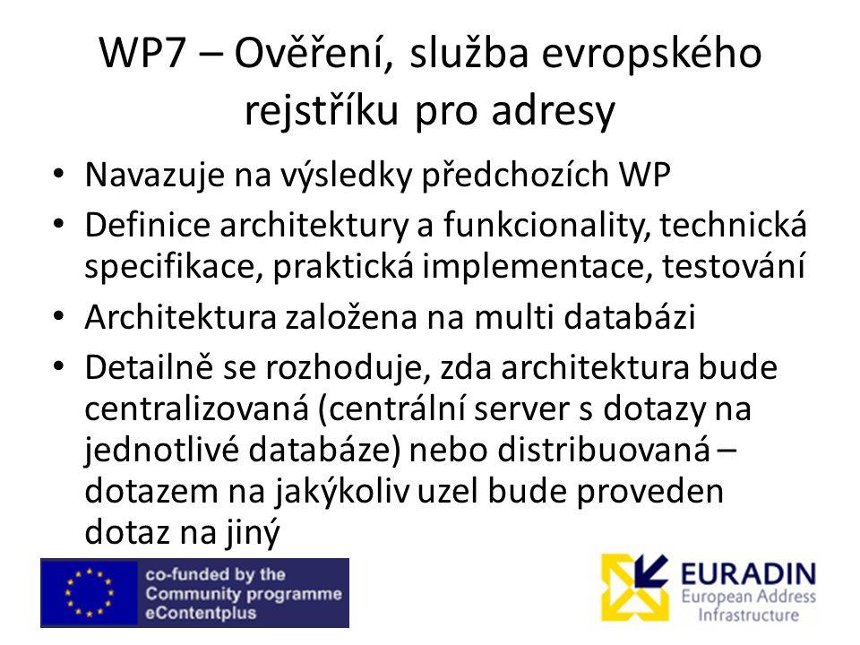 WP7 – Ověření, služba evropského rejstříku pro adresy