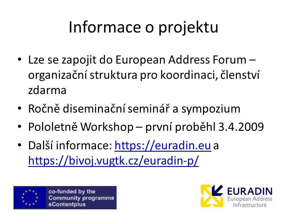 Informace o projektu Lze se zapojit do European Address Forum – organizační struktura pro koordinaci, členství zdarma.