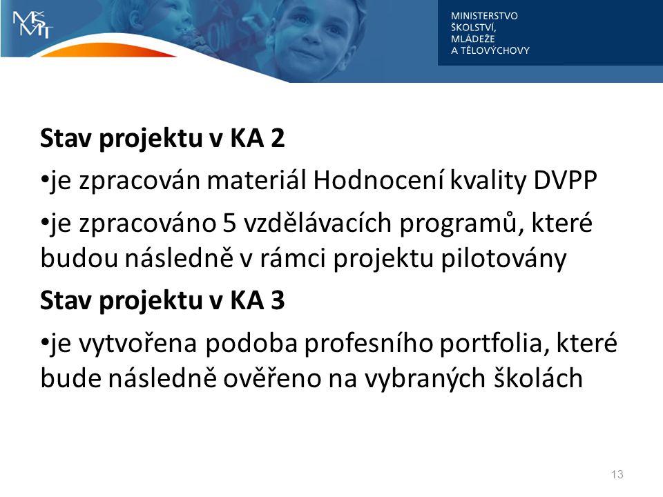 Stav projektu v KA 2 je zpracován materiál Hodnocení kvality DVPP.