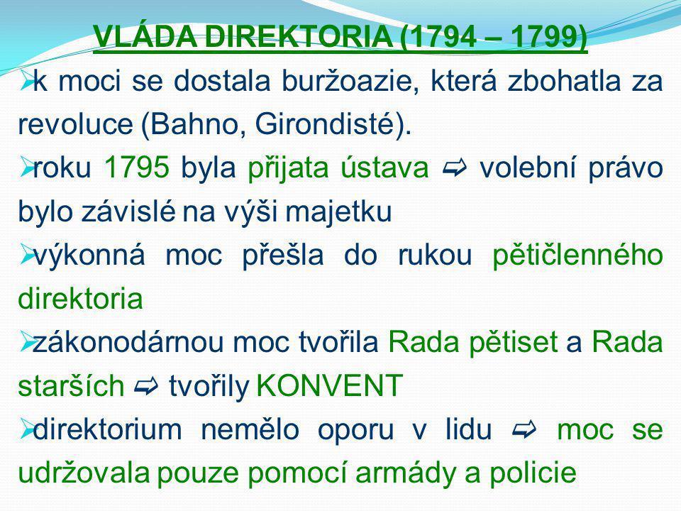 VLÁDA DIREKTORIA (1794 – 1799) k moci se dostala buržoazie, která zbohatla za revoluce (Bahno, Girondisté).