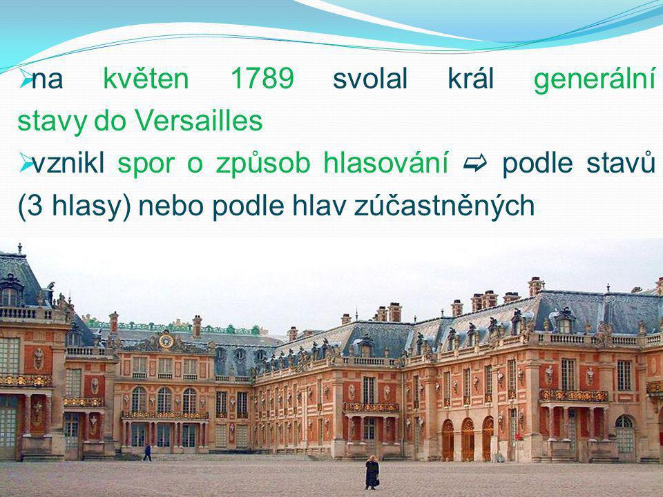 na květen 1789 svolal král generální stavy do Versailles