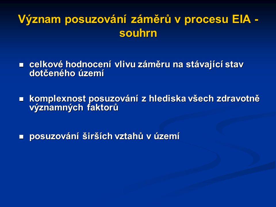 Význam posuzování záměrů v procesu EIA - souhrn