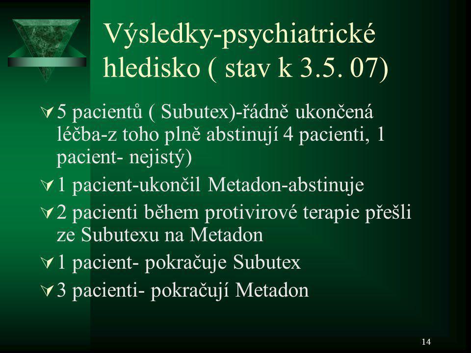 Výsledky-psychiatrické hledisko ( stav k 3.5. 07)