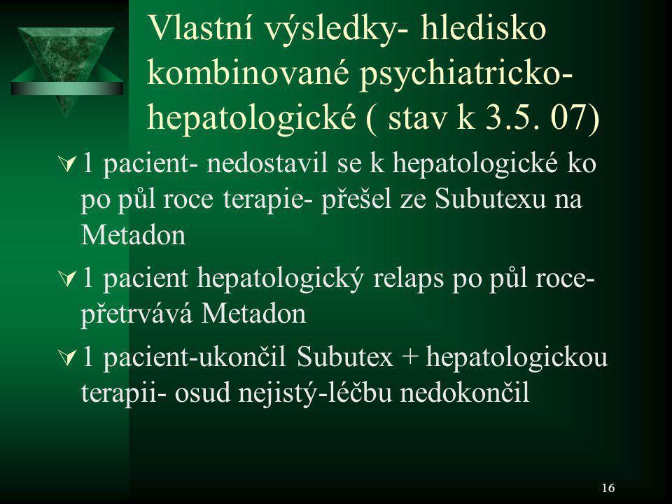 Vlastní výsledky- hledisko kombinované psychiatricko-hepatologické ( stav k 3.5. 07)