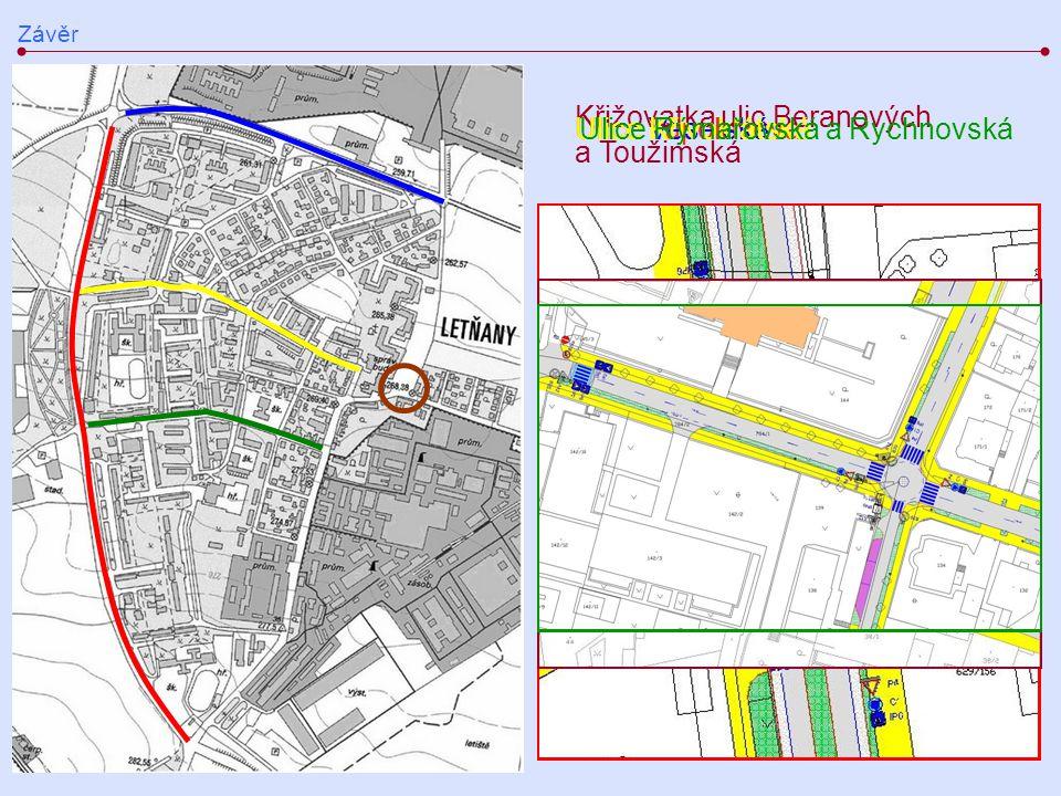Křižovatka ulic Beranových a Toužimská Ulice Křivoklátská