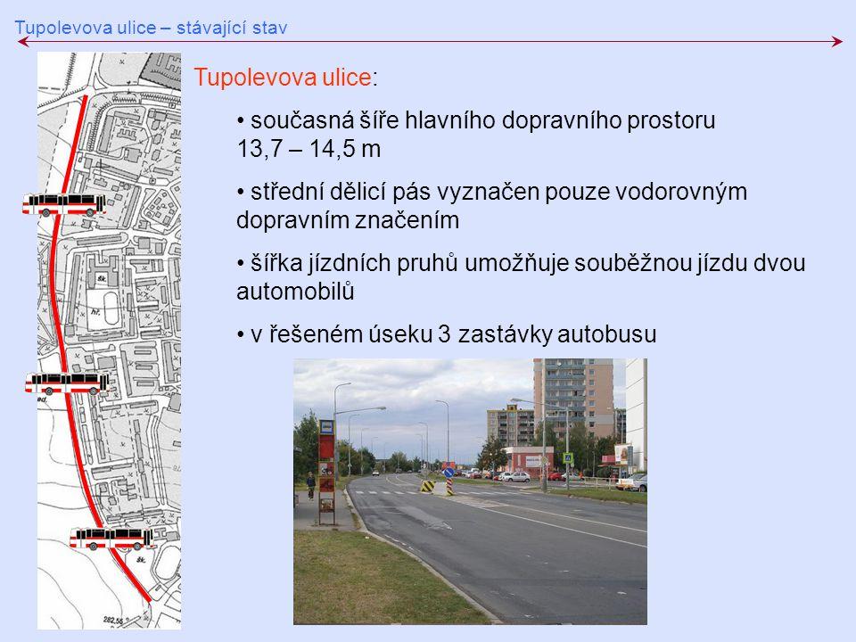 současná šíře hlavního dopravního prostoru 13,7 – 14,5 m
