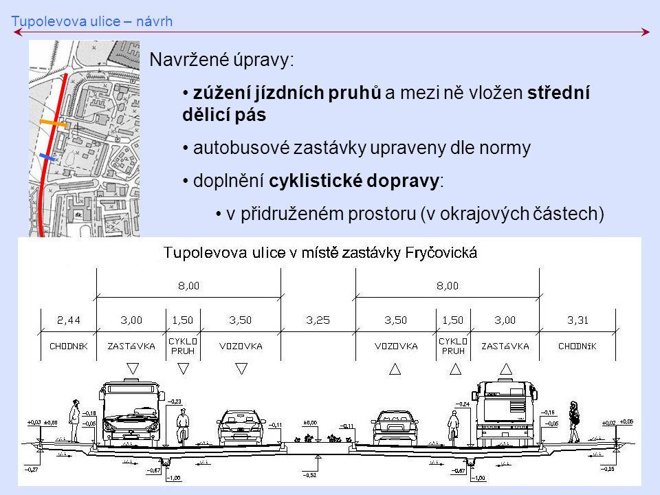 zúžení jízdních pruhů a mezi ně vložen střední dělicí pás