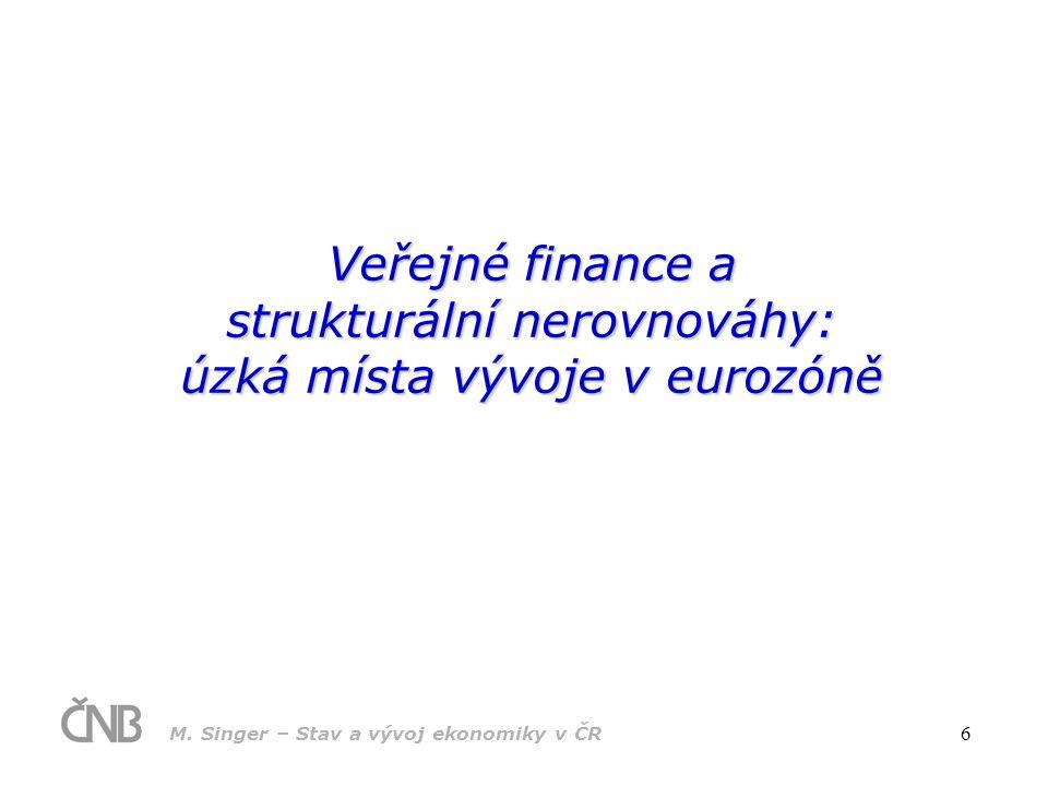 Veřejné finance a strukturální nerovnováhy: úzká místa vývoje v eurozóně