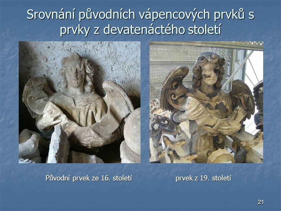 Srovnání původních vápencových prvků s prvky z devatenáctého století