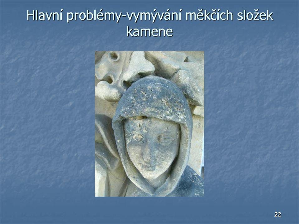 Hlavní problémy-vymývání měkčích složek kamene