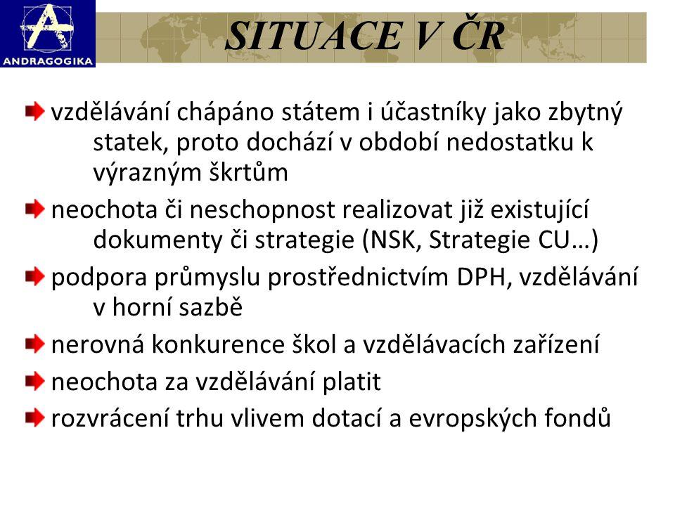 SITUACE V ČR vzdělávání chápáno státem i účastníky jako zbytný statek, proto dochází v období nedostatku k výrazným škrtům.
