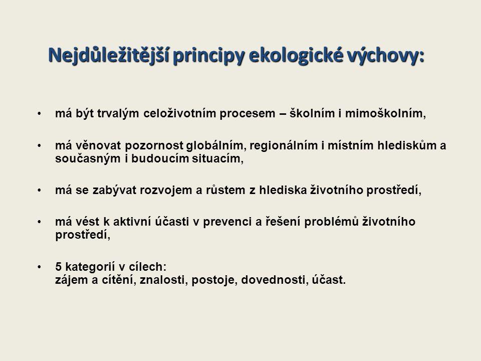 Nejdůležitější principy ekologické výchovy: