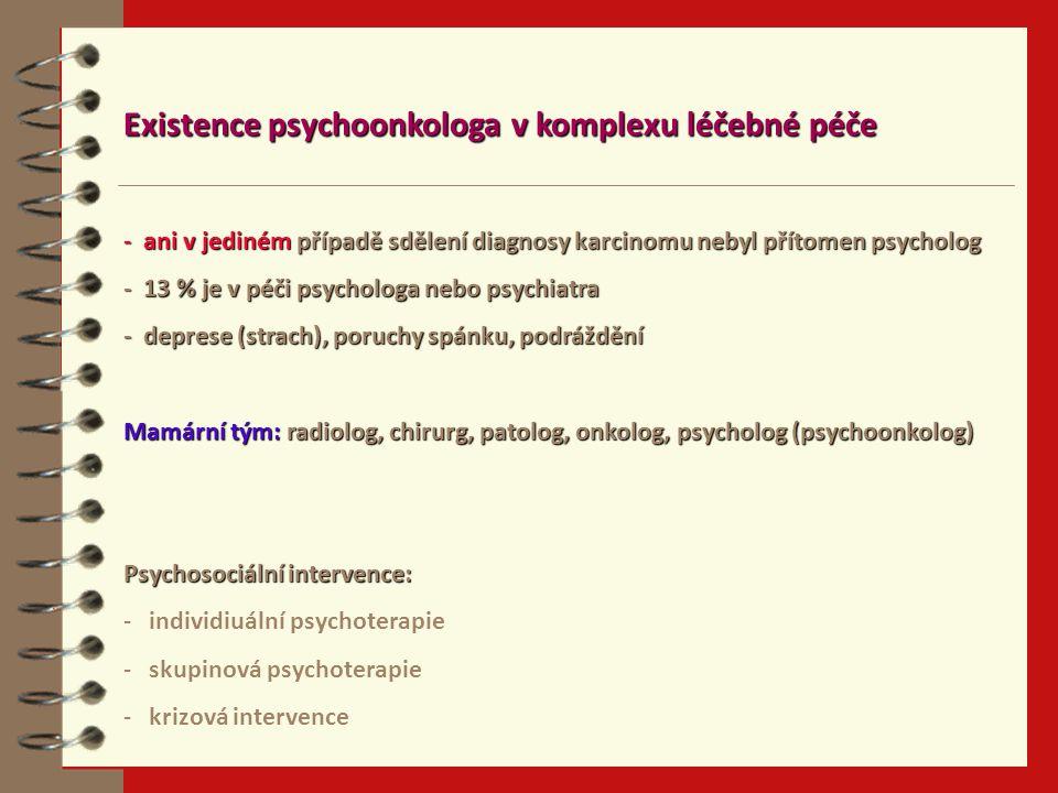 Existence psychoonkologa v komplexu léčebné péče