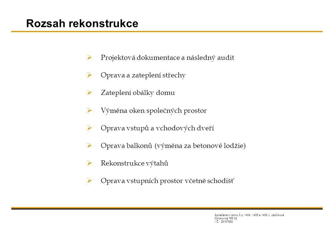 Rozsah rekonstrukce Projektová dokumentace a následný audit