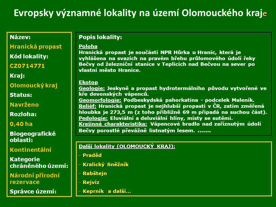 Evropsky významné lokality na území Olomouckého kraje