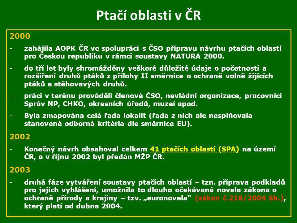 Ptačí oblasti v ČR 2000. zahájila AOPK ČR ve spolupráci s ČSO přípravu návrhu ptačích oblastí pro Českou republiku v rámci soustavy NATURA 2000.