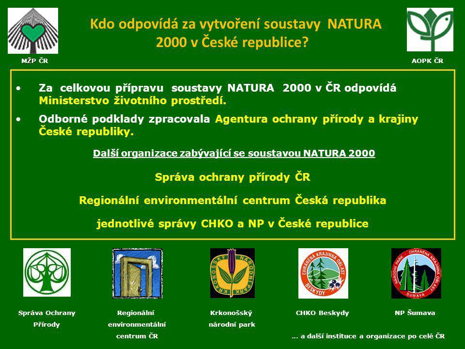 Kdo odpovídá za vytvoření soustavy NATURA 2000 v České republice