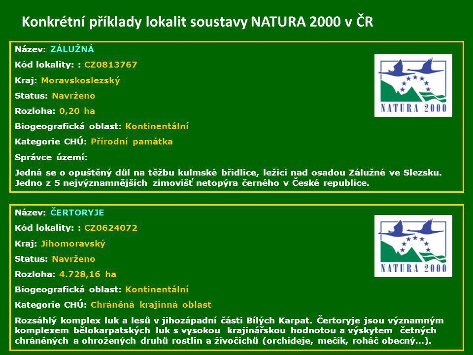 Konkrétní příklady lokalit soustavy NATURA 2000 v ČR