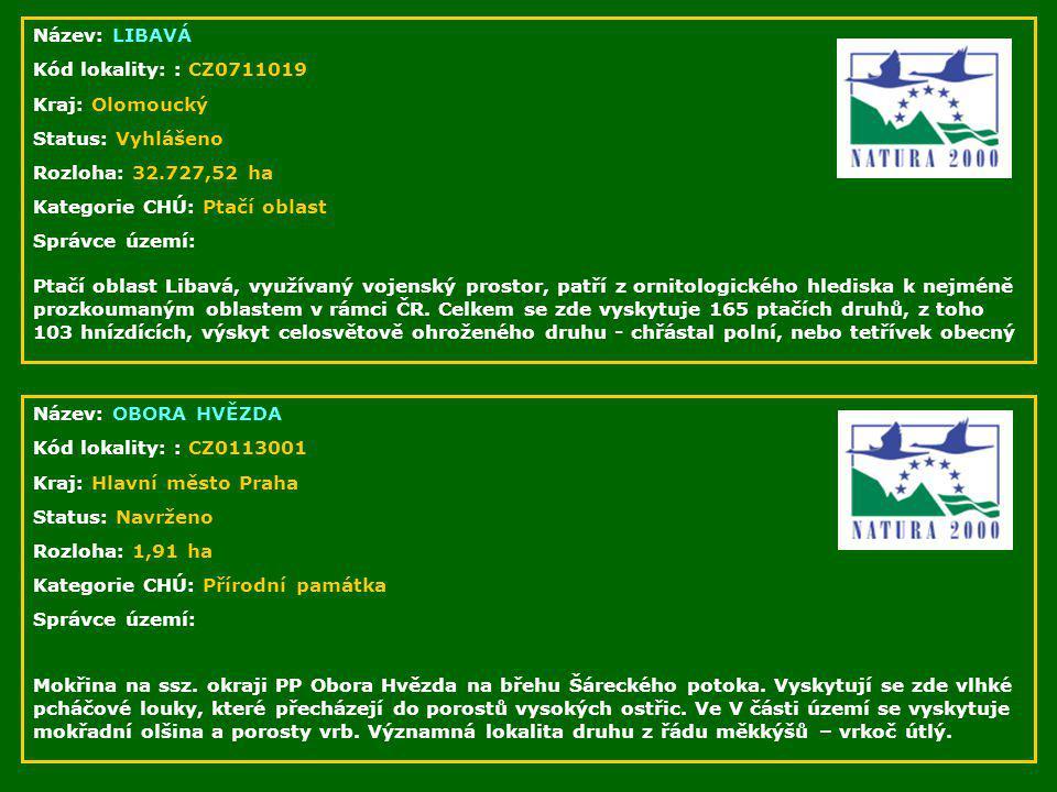 Název: LIBAVÁ Kód lokality: : CZ0711019. Kraj: Olomoucký. Status: Vyhlášeno. Rozloha: 32.727,52 ha.