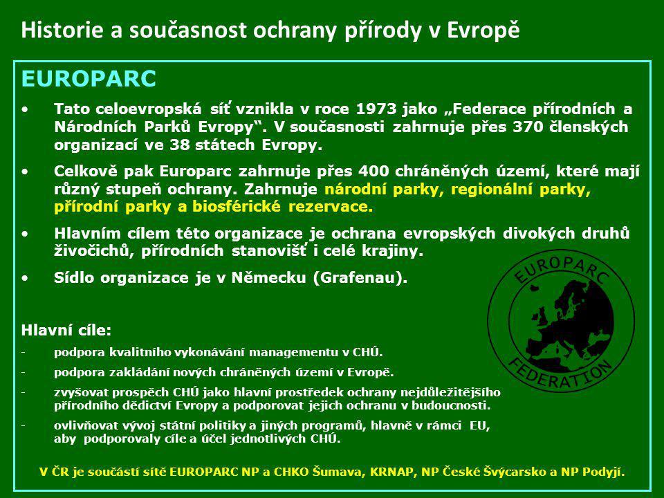 Historie a současnost ochrany přírody v Evropě
